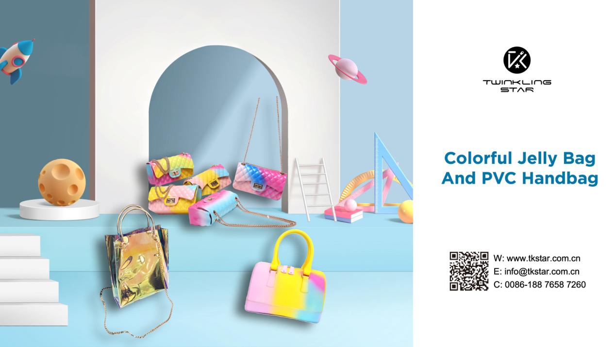 Colorful Jelly bag and Rainbow PVC handbag