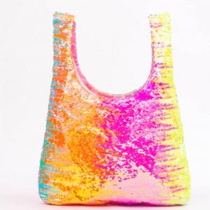 Reusable Grocery Shopping Bags Glitter Sequin Tote Bags Bulk Glitter Foldable Hand bag for girl women
