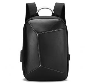 Custom Fashion Black large stylish anti theft charging pu leather waterproof laptop backpack