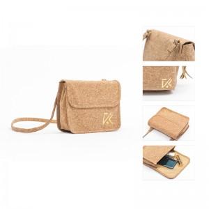 Reusable Natural wood-grained Paper Foldable Messenger Bag Waterproof Cross body Sling Bag