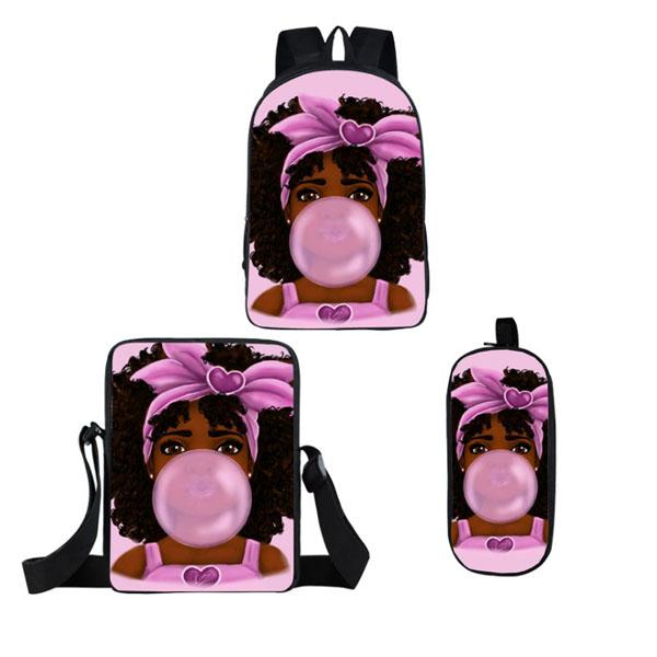 Wholesale Dealers of Top Quality 600d Polyester Bag - 2020 Kids School Backpack African American Black Art Girls Schoolbag 3 Pcs/set School Bags for Girls – Twinkling Star
