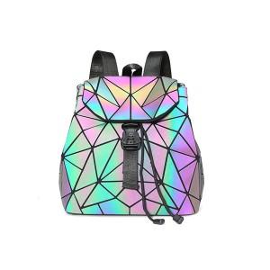 New Women Luminous Geometric Plaid Sequin Female Backpacks For Teenage Girls Bag pack Drawstring Bag Holographic Backpack