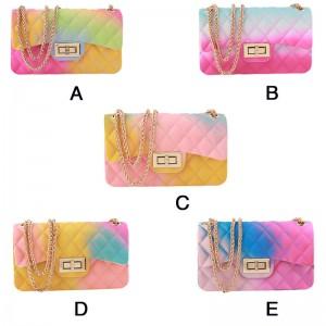 Colorful rhombus gradient jelly bag matte frosted one shoulder messenger bag