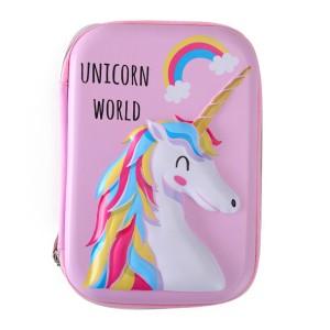 Custom Large-capacity 3D cute Unicorn Flamingo EVA pencil case for kids